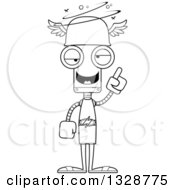 Lineart Clipart Of A Cartoon Black And White Skinny Drunk Or Dizzy Robot Hermes Royalty Free Outline Vector Illustration