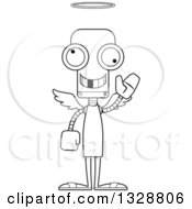 Lineart Clipart Of A Cartoon Black And White Skinny Robot Angel With A Missing Tooth Waving Royalty Free Outline Vector Illustration