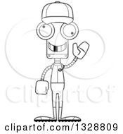Poster, Art Print Of Cartoon Black And White Skinny Waving Robot Baseball Player With A Missing Tooth
