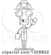 Lineart Clipart Of A Cartoon Black And White Skinny Waving Robot Firefighter With A Missing Tooth Royalty Free Outline Vector Illustration