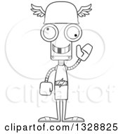 Lineart Clipart Of A Cartoon Black And White Skinny Waving Hermes Robot With A Missing Tooth Royalty Free Outline Vector Illustration