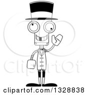 Cartoon Black And White Skinny Waving Robot Circus Ringmaster With A Missing Tooth