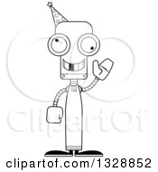Cartoon Black And White Skinny Waving Wizard Robot With A Missing Tooth