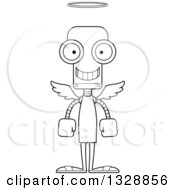Lineart Clipart Of A Cartoon Black And White Skinny Happy Angel Robot Royalty Free Outline Vector Illustration