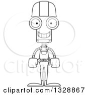 Cartoon Black And White Skinny Happy Robot Construction Worker