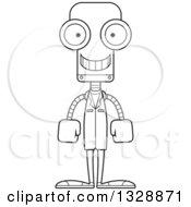 Cartoon Black And White Skinny Happy Robot Doctor