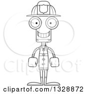 Lineart Clipart Of A Cartoon Black And White Skinny Happy Robot Firefighter Royalty Free Outline Vector Illustration