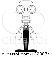 Lineart Clipart Of A Cartoon Black And White Skinny Happy Robot Groom Royalty Free Outline Vector Illustration