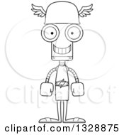 Lineart Clipart Of A Cartoon Black And White Skinny Happy Robot Hermes Royalty Free Outline Vector Illustration