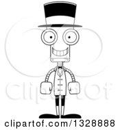Cartoon Black And White Skinny Happy Robot Circus Ringmaster