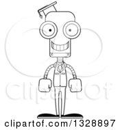 Cartoon Black And White Skinny Happy Robot Professor