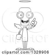 Lineart Clipart Of A Cartoon Black And White Skinny Robot Angel With An Idea Royalty Free Outline Vector Illustration