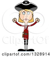 Clipart Of A Cartoon Angry Tall Skinny White Woman Pirate Royalty Free Vector Illustration
