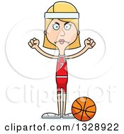 Clipart Of A Cartoon Angry Tall Skinny White Woman Basketball Player Royalty Free Vector Illustration