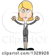 Clipart Of A Cartoon Angry Tall Skinny White Business Woman Royalty Free Vector Illustration by Cory Thoman