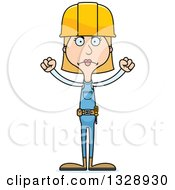 Clipart Of A Cartoon Angry Tall Skinny White Woman Construction Worker Royalty Free Vector Illustration