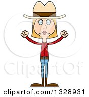 Clipart Of A Cartoon Angry Tall Skinny White Cowgirl Woman Royalty Free Vector Illustration by Cory Thoman