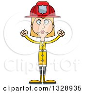 Clipart Of A Cartoon Angry Tall Skinny White Woman Firefighter Royalty Free Vector Illustration by Cory Thoman