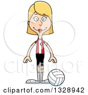 Clipart Of A Cartoon Happy Tall Skinny White Woman Volleyball Player Royalty Free Vector Illustration