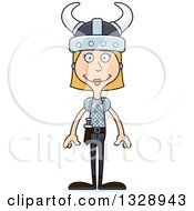 Clipart Of A Cartoon Happy Tall Skinny White Woman Viking Royalty Free Vector Illustration