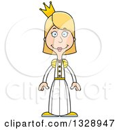 Clipart Of A Cartoon Happy Tall Skinny White Woman Princess Royalty Free Vector Illustration by Cory Thoman