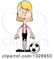 Clipart Of A Cartoon Happy Tall Skinny White Woman Soccer Player Royalty Free Vector Illustration