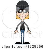 Clipart Of A Cartoon Happy Tall Skinny White Woman Robber Royalty Free Vector Illustration