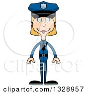 Clipart Of A Cartoon Happy Tall Skinny White Woman Police Officer Royalty Free Vector Illustration
