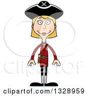 Clipart Of A Cartoon Happy Tall Skinny White Woman Pirate Royalty Free Vector Illustration