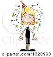Clipart Of A Cartoon Happy Tall Skinny White Party Woman Royalty Free Vector Illustration
