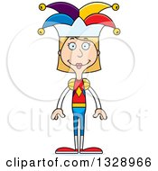 Clipart Of A Cartoon Happy Tall Skinny White Woman Jester Royalty Free Vector Illustration by Cory Thoman