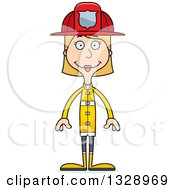 Clipart Of A Cartoon Happy Tall Skinny White Woman Firefighter Royalty Free Vector Illustration by Cory Thoman