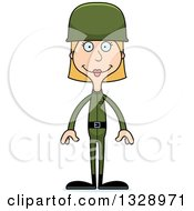 Clipart Of A Cartoon Happy Tall Skinny White Army Soldier Woman Royalty Free Vector Illustration by Cory Thoman