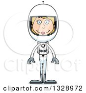 Clipart Of A Cartoon Happy Tall Skinny White Woman Astronaut Royalty Free Vector Illustration