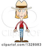 Cartoon Happy Tall Skinny White Cowgirl Woman