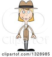 Clipart Of A Cartoon Happy Tall Skinny White Woman Detective Royalty Free Vector Illustration