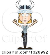 Clipart Of A Cartoon Angry Tall Skinny White Woman Viking Royalty Free Vector Illustration
