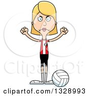 Clipart Of A Cartoon Angry Tall Skinny White Woman Volleyball Player Royalty Free Vector Illustration