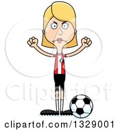 Clipart Of A Cartoon Angry Tall Skinny White Woman Soccer Player Royalty Free Vector Illustration