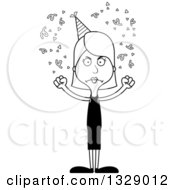 Lineart Clipart Of A Cartoon Black And White Angry Tall Skinny White Party Woman Royalty Free Outline Vector Illustration
