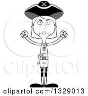 Lineart Clipart Of A Cartoon Black And White Angry Tall Skinny White Woman Pirate Royalty Free Outline Vector Illustration
