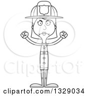 Lineart Clipart Of A Cartoon Black And White Angry Tall Skinny White Woman Firefighter Royalty Free Outline Vector Illustration