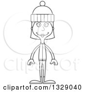 Lineart Clipart Of A Cartoon Black And White Happy Tall Skinny White Woman In Winter Clothes Royalty Free Outline Vector Illustration