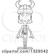 Lineart Clipart Of A Cartoon Black And White Happy Tall Skinny White Woman Viking Royalty Free Outline Vector Illustration