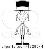 Cartoon Black And White Happy Tall Skinny White Woman Circus Ringmaster