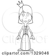 Lineart Clipart Of A Cartoon Black And White Happy Tall Skinny White Woman Princess Royalty Free Outline Vector Illustration by Cory Thoman