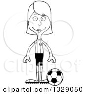 Lineart Clipart Of A Cartoon Black And White Happy Tall Skinny White Woman Soccer Player Royalty Free Outline Vector Illustration