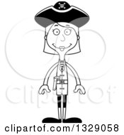 Lineart Clipart Of A Cartoon Black And White Happy Tall Skinny White Woman Pirate Royalty Free Outline Vector Illustration