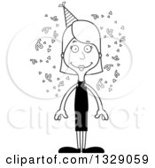 Lineart Clipart Of A Cartoon Black And White Happy Tall Skinny White Party Woman Royalty Free Outline Vector Illustration
