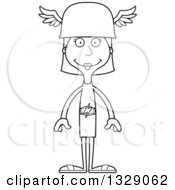Lineart Clipart Of A Cartoon Black And White Happy Tall Skinny White Hermes Woman Royalty Free Outline Vector Illustration